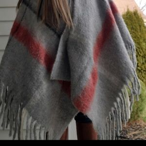 Mo Hair Wrap Blanket Hi Low Poncho with Fringe